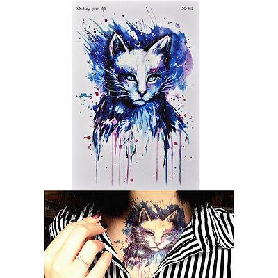 New Waterproof Blue Cat Temporary Tattoo Large Arm Body Art Tattoos Sticker NIES