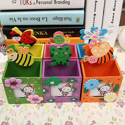 Cute Wooden Pen Pencil Holder Stationery Storage Organizer Office Pen Container