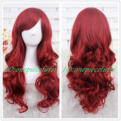 Princess Ariel Curly Wave Wine Red Cosplay Wig CC66B+a wig - Princess Wig
