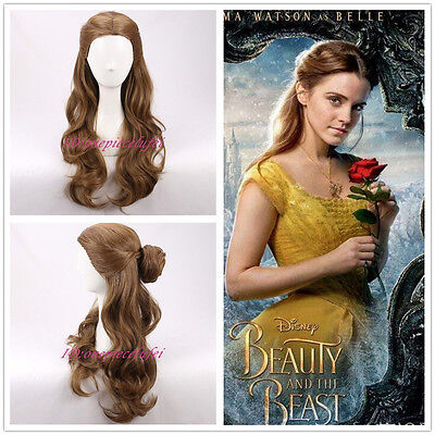2017 NEW MOVIE Beauty and the Beast Princess Belle long wavy brown Cosplay - Movie Wigs