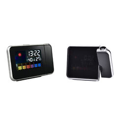 LCD Digital Projector Projection Alarm Clock Weather Station Calendar Snooze ZF