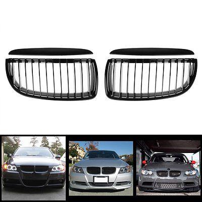 Front Kidney Grille Grill Matte Black Set For BMW E90 3-Series Sedan Wagon 05-08