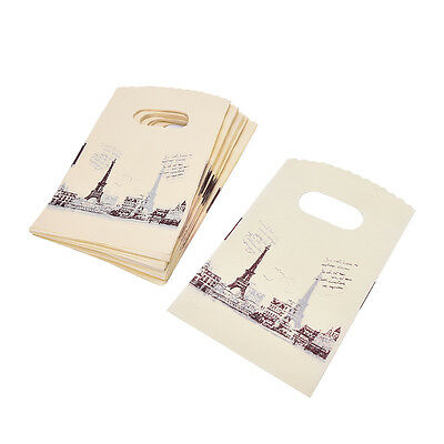 100pcs Yellow Eiffel Tower Packaging Bags Plastic Shopping Bags With Handle JS