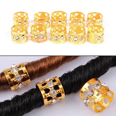 10Pcs Braiding Hair Rings Dreadlock Marley Braids Beads Clips Cuffs Rhineston ZN
