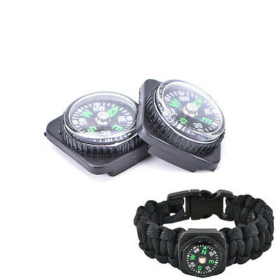 2pcs Compass Slip Slide on Watch Band Wrist For Survival Paracord Rope##
