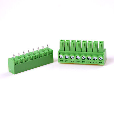 5pcs 3.81mm 8-pin Plug-in Screw Terminal Block Connector Panel Pcb Mount Gz