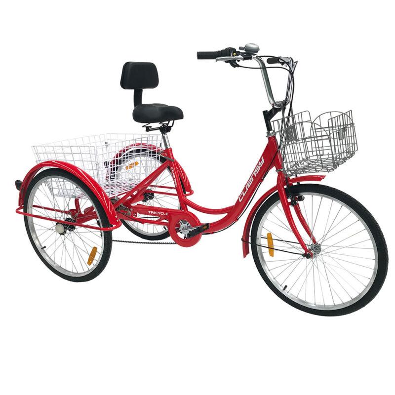 """7-Speed Adult 20""""/26"""" 3-Wheel Tricycle Trike Bike Bicycle Cr"""