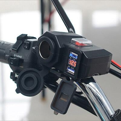 DC 5V/12V Auto Motorrad Dual USB Buchse Zigarettenanzünder Steckdose Ladegerät