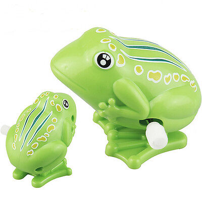 1 Pcs Wind up Frog Plastic Jumping Animal Classic Educational Clockwork Toys HL