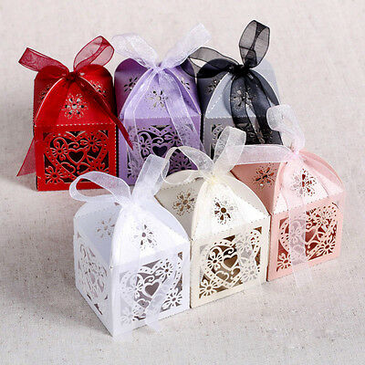 Ribbon Wedding Favor Decor - 10/50/100Pcs Love Heart Favor Ribbon Gift Box Candy Boxes Wedding Party Decor ~!