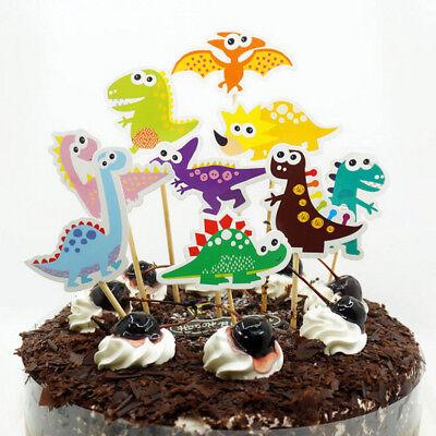 9 /Set von DIY Cartoon Dinosaurier Kuchen Hut Kinder Geburtstagsparty Dekor W0