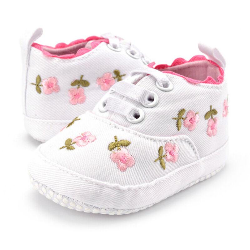 1 Pair baby girls floral crib shoes soft sole anti-slip prewalker canvas shoesUE