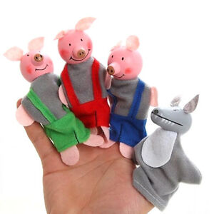 4 Pcs/set Three Little Pigs Fingers Puppets Wooden Headed Baby Educationals Toys