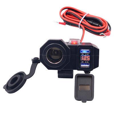 12V/24V Motorrad Zigarettenanzünder +2.1A Dual USB Steckdose Ladegerät Switch