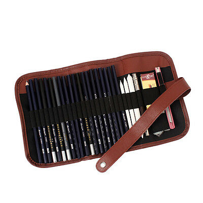 Pencil Charcoal Drawings - 24Pcs Sketch Pencils case Charcoal Extender Pencil shade Cutter Drawing Bag ME