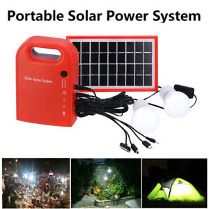 Outdoor Solar Powered Generator LED Lighting System Kit USB Charger 2 Light Bulb