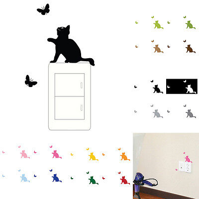 Cat Switch Wall Sticker Removable Baby Kids Bedroom Home Decal Decoration#@