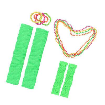 Neonkette Armbänder Netzhandschuhe für 80er Jahre Party Retro Kostüm (Retro Kostüme Zubehör)