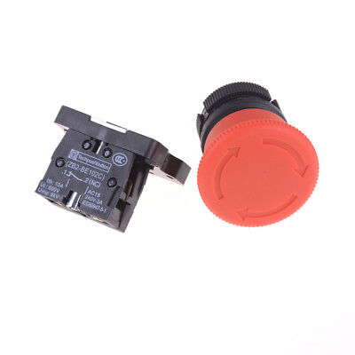 1pcs Xb2-es542 22mm Nc Red Mushroom Emergency Stop Push Button Switch Faus