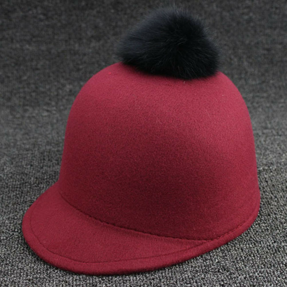 Toddler Winter Hat Girls Vintage Pom Cap Peaked England Equestrian Baseball