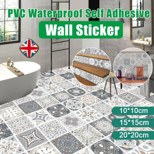 Home Decoration - 24PCS Mosaic Kitchen Tile Stickers Bathroom Self-adhesive Wall Decor Home DIY UK