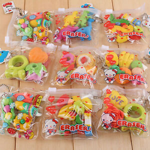 New Cute Food Rubber Pencil Eraser Set Stationery Novelty Children Party Gift WK