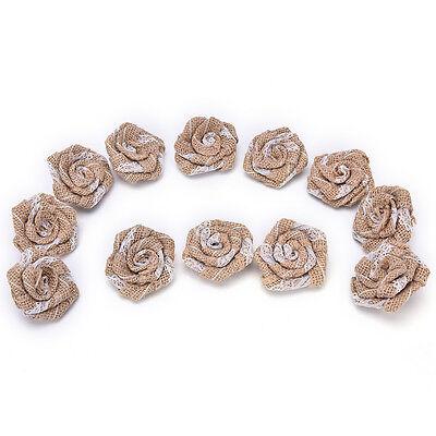 Handmade Burlap Flower Burlap Lace Rose Flowers DIY Finding  Shabby Chic HICA](Burlap Flowers Diy)