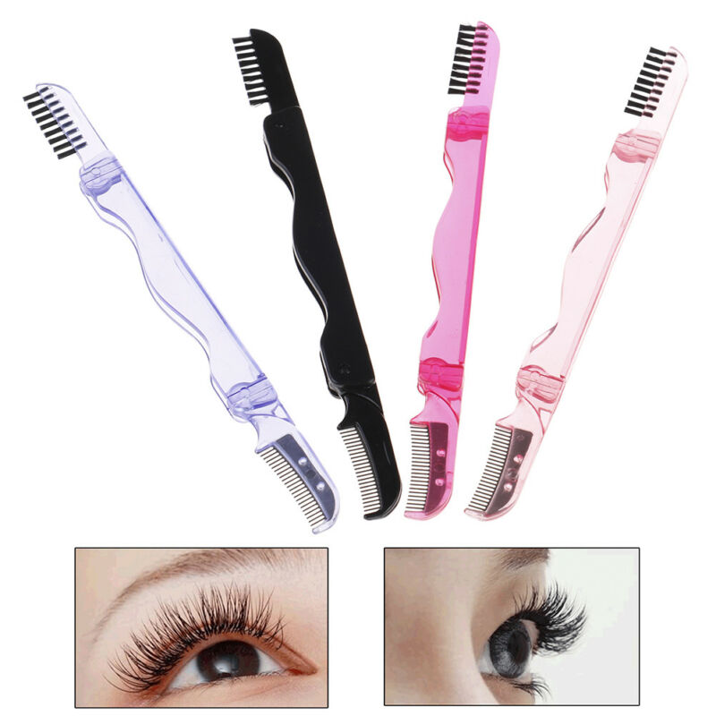 Foldable Eyelash Brush Folding Mascara Wands Eyebrow Comb Brush Stainless St VV - $4.06
