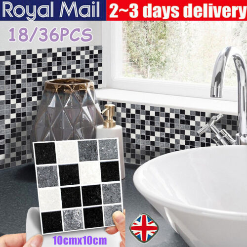 Home Decoration - DIY Mosaic Sticker Kitchen Tile Stickers Bathroom Self-adhesive Wall Decor Home