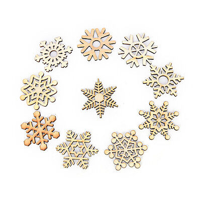 10 Assorted Wooden Snowflake Laser Cut Christmas Tree Hanging Decor Ornament LB - Hanging Snowflakes