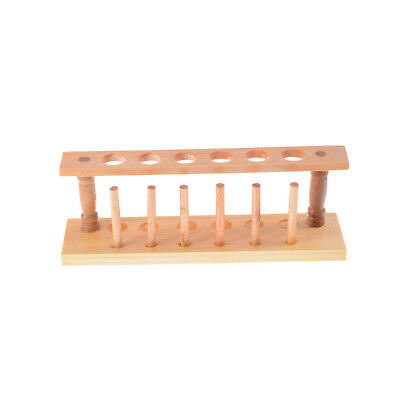 6 Holes Lab Wooden Test Tube Storage Holder Bracket Rack With Stand Sticks Oj