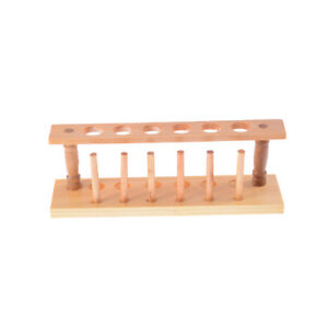 6 Holes Lab Wooden Test Tube Storage Holder Bracket Rack With Stand Sticks、F HL