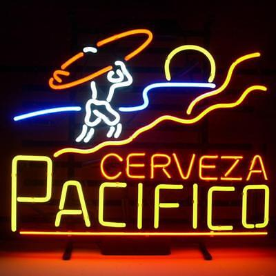 """Used, New CERVEZA PACIFICO Surf Beer Neon Sign 17""""x14"""" for sale  USA"""