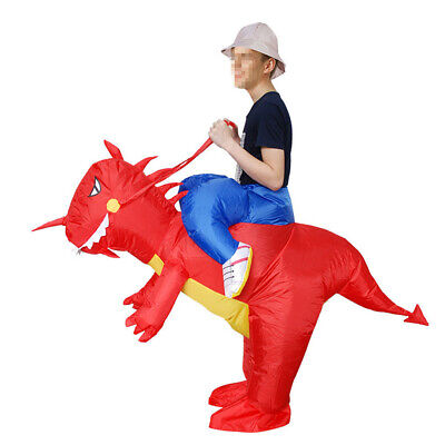 Inflatable Dinosaur Halloween Costume (Adults Inflatable T-REX Dinosaur Costume Funny Halloween Dress Blowup Outfits)