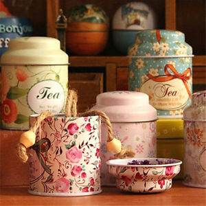 Flower Design Metal Sugar Coffee Tea Tin Jar Container Candy Sealed Cans NJ