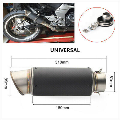 51mm Universal Motorcycle ATV Carbon Fiber Exhaust Pipe Muffler with Accessories