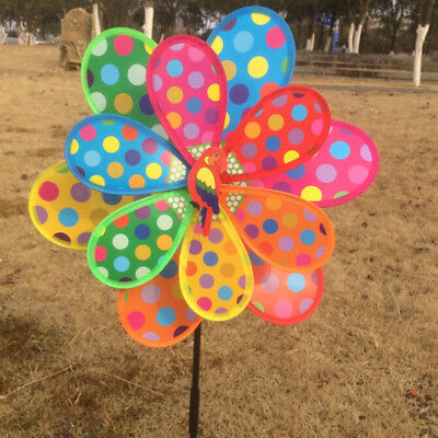 Multicolor Dots Windmill Garden Ornaments Wind Spinner Whirligig Kids Toy TH