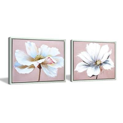 Flower Wall Art Decor Modern Framed Floral Canvas Painting Picture with Hand