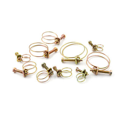2X Double Wire Hose Clamp Pipe Clip Screw Bolt Tight Fitting Classic Type JH Hose Clamp Wire Type