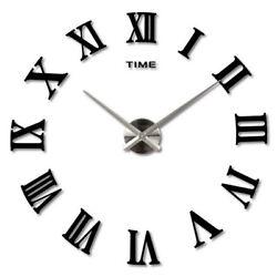 3D Luxury Large Wall Clock Roman Numerals Clock Home Office Decor DIY Stickers