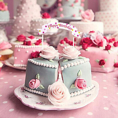 Happy Birthday Cupcake Cake Bunting Banner Flag Food Topper Shower Party - Cupcake Happy Birthday Banner
