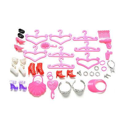 45 Pcs/Set Doll Accessories Shoes Bag Hanger Comb Bracelet For Dolls SE