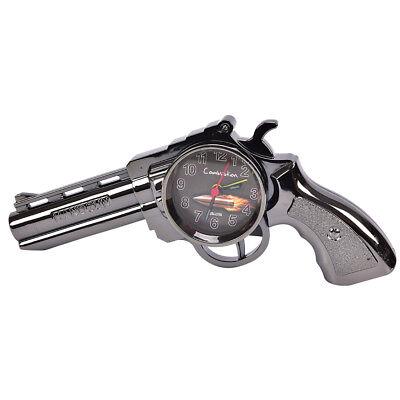Novelty Pistol Gun Shape Alarm Clock Desk Table Home Office Decor Gift RS