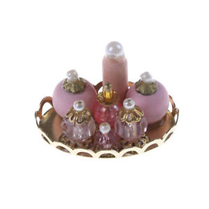 1/12 Dolls House Accessories Miniature Pink Perfume Bottles with Golden Tray XBU