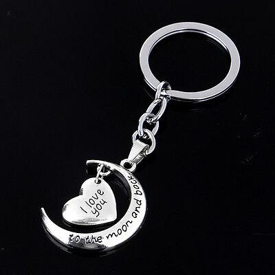 Herz-Silber-Anhänger-Schlüsselringe Keychain Schlüsselanhänger Geschenk  ^