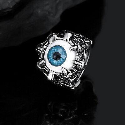 1 Pcs Evil Eye Biker Men's Ring Stainless Steel Gothic Skull Dragon Claw BluNIU - Plastic Skull Rings