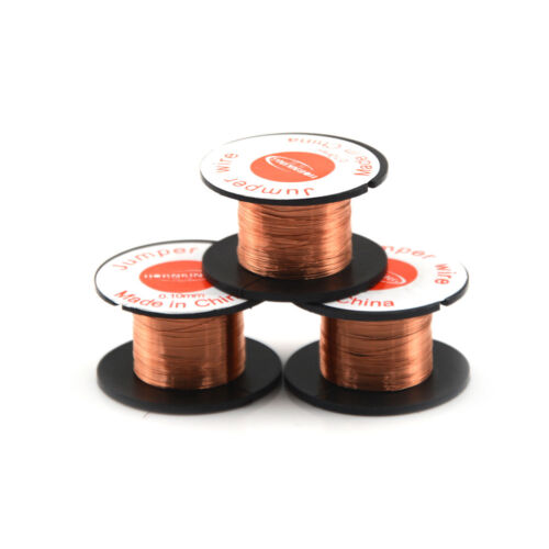 3 Roll Magnet Wire AWG Gauge Enameled Copper Coil Winding 0.1mm Fast RF0