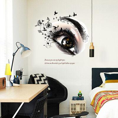 black eyes flower bird home decor wall stickers girls room decal mural Flower KZ