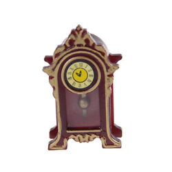 1:12 Dollhouse Miniature Wooden Classical Desk Clock Classic Furniture Toy JB