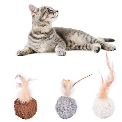 pet cat kitten feather round plush ball mouse chew toy with catnip 0c